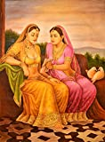Friend Showing a Letter of Dushyanta to Shakuntala - Oil Painting on Canvas - Artist: Anup Gomay