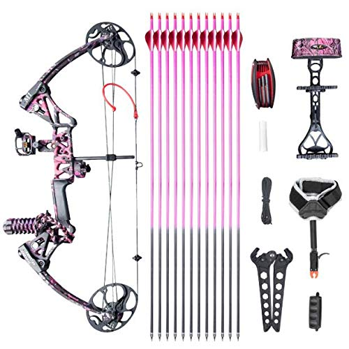 "XGeek Womens Compound Bow,with Hunting Accessories,CNC Milling Bow Riser,USA Gordon Composites Limb,BCY String,19""-30"" Draw Length,10-50 Lbs Draw Weight,IBO 320fps (2 Years Warranty)"