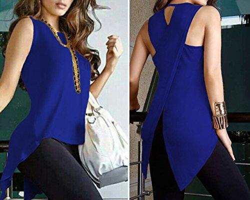 Bluse Maniche Blu Donna Rotondo Irregolare di Collo Blouse Top Colore Moda reale Spaccato Solido Shirts Estivi Casual Camicie Senza Indietro P4RAUAYn