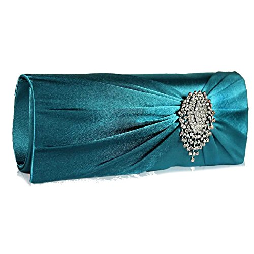 Flower 50 Turquoise FREE With Crystal Clutch Gorgeous Ruched DELIVERY Satin UK SAVE HqPB6