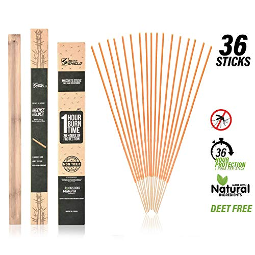 EnvyDeal Citronella Mosquito Repellent Incense Sticks, Natural 36 Pack with Bamboo Stand for Garden Indoor Outdoor Patio, Infused with Lemongrass and Rosemary
