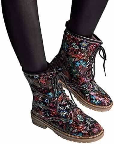 51f5992477b Memela Women s Shoes Wide Width Martin Boots - Low Chunky Heel Casual Side  Zipper Lace up