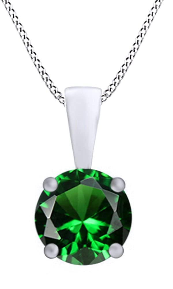 Jewel Zone US Round Cut Simulated Green Emerald Pendant Necklace in 14k Gold Over Sterling Silver 3 Ct