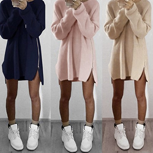 Walant Women Loose Casual Long Knit Pullover Sweater Zipper Dress Side Slit