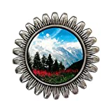 GiftJewelryShop Ancient Style Silver Plate Travel German Alps Sunflower Pins Brooch
