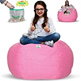 Kroco Stuffed Animal Storage Bean Bag Cover - Toy Beanbag Storage - Replace Toys Boxes, Hammock Net for Kids Room- Store Costumes, Blankets/Pillows Too - 38´´ Pink