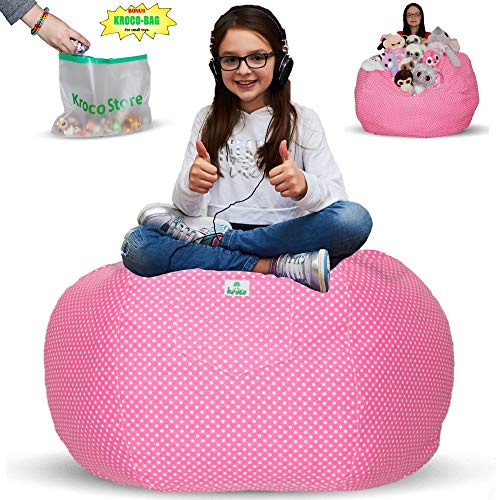 (Kroco Stuffed Animal Storage Bean Bag Chair Cover - Toy Storage Beanbag - Stuff Animals Bean Bags Storage - Replace Mesh Toy Hammock Net - Store Plush Toys Blankets/Pillows Too -Extra Large 38´´ Pink)