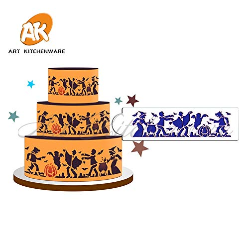 1 piece Halloween Monster Cake Side Stencil Celebration Cake Stencils Reusable Stencil Party Decoration Stencils Cake Decorating Tool