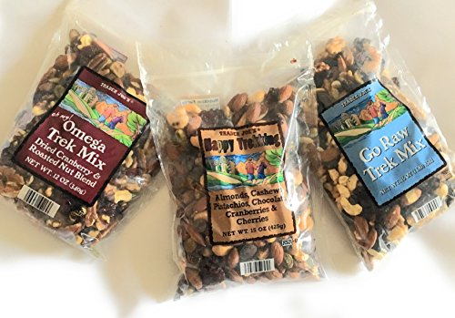 Trader Joes Trail Mix Snack Bundle - 1 Omega Trek, 1 Happy Trekking, and 1 Go Raw Pack - A Collection of Mixed Nut Perfection - A Healthy Assortment for Adults and Kids