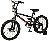 Mongoose Switch Boy's Freestyle BMX Bike with Training Wheels, 18-Inch Wheels, Black