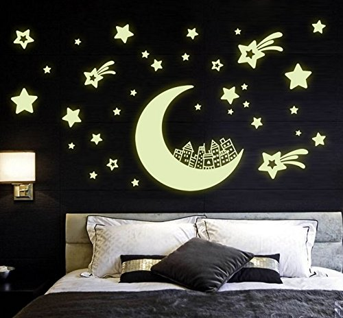 Glow In The Dark Stars Removalble Diy Cute Moon House Cartoon Wall Decal Luminous Light Wall Stickers Murals Home Art Decor for Kids Growth Babys Boys and Girls Bedroom Playroom (Cartoon House)