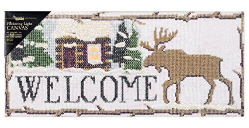 Moose House Plaque (Welcome Moose Needlepoint Print LED Light-up 8 x 18 inch Wall Decoration)