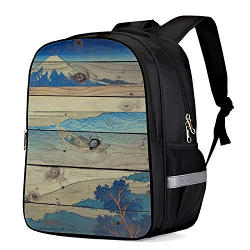 Kid School Backpack Shoulder Book Bag for Teenage Girls Boys,Katsushika Hokusai -Tama River in Musashi Province Thirty-six Views of Mount Fuji Schoolbag ChIld Backpacks,13 Inch