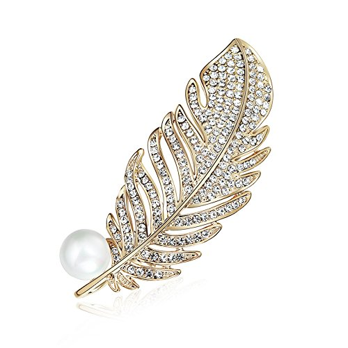 Brooch Feather - Womens Gold Plated Vintage Gorgeous Peacock Feather Rhinestone Crystal Faux Pearl Bead Brooch Pin