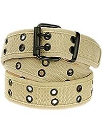 Canvas Web Belts for Men,Solid Color Casual Double Hole Grommet Belt