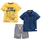 Simple Joys by Carter's Boys' Toddler 3-Piece Playwear Set, Yellow and Blue Dino/Stripe, 3T