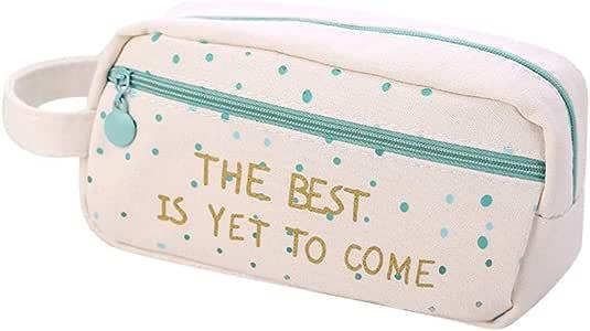 Fossrn Estuches Escolares 2 Cremalleras Niñas lona Estuche de Lápices Grandes Bolsa de cosméticos (B): Amazon.es: Oficina y papelería