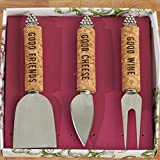 Two's Company 51771 Set of 3 Cork Handle Cheese Knives Stainless Steel