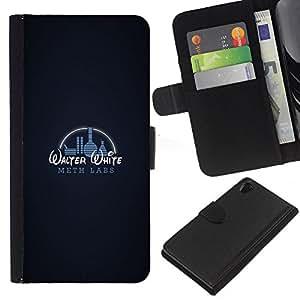 Gracioso - laboratorio de metanfetamina W W - la tarjeta de Crédito Slots PU Funda de cuero Monedero caso cubierta de piel Para Sony Xperia Z2 D6502