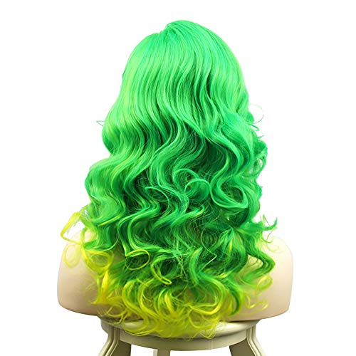 Sexy Mermaid Costume Wig Ombre Neon Green Yellow Wave Hair Lady Gaga Cosplay Long Curly Wig Mardi Gras Carnival Costumes (Green)