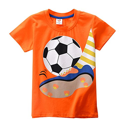 Boys Girls Clothes Cartoon Soccer Print Sports Short Sleeve Tops T-Shirt Blouse Toddler Kids (Orange, Age: 3 Years)