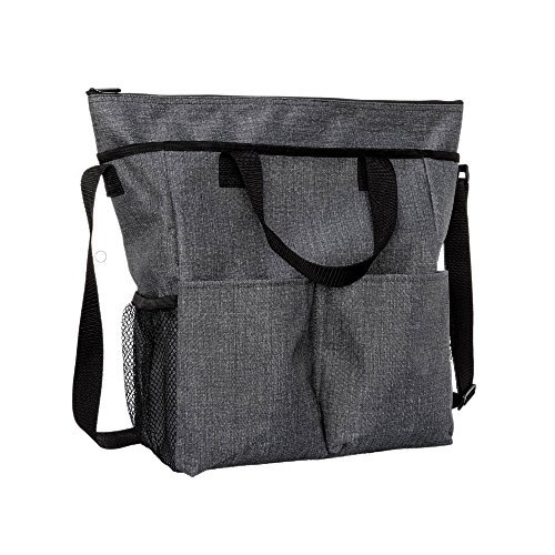 Thirty One Crossbody Organizing Tote in Charcoal Crosshatch - No Monogram - 9025