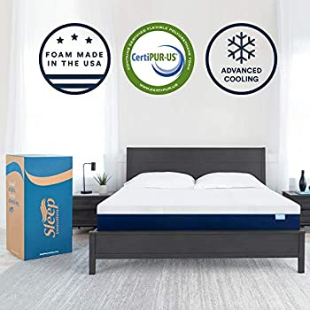 Sleep Innovations Marley 12-inch Cooling Gel Memory Foam Mattress Bed in a Box, Made in The USA, 10-Year Warranty, King, White