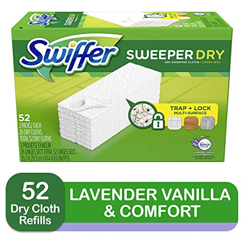 Swiffer Sweeper Dry Sweeping Pad, Multi Surface Refills for Dusters Floor Mop with Febreze Lavender Scent, 26 Count…