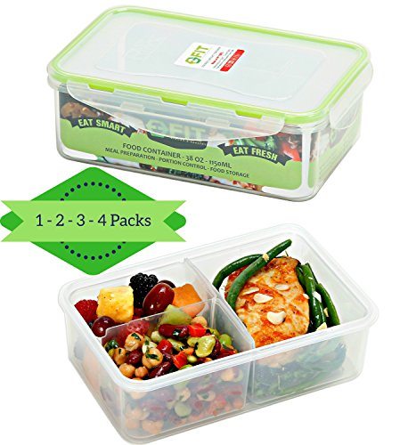 Bento Box Meal Prep Containers (1) - Leak Proof Bento Lunch Box for Adults, Kids | Food Storage Containers | Lunchbox | Portion Control Containers | 3 Removable Compartments | Reusable | Airtight