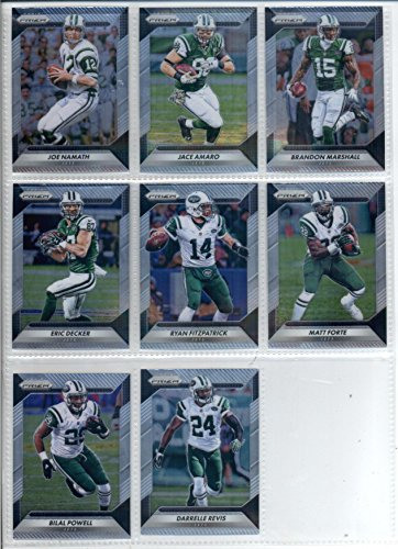 2016 Panini Prizm Football New York Jets Team Set of 8 Cards: Darrelle Revis(#55), Ryan Fitzpatrick(#72), Matt Forte(#82), Bilal Powell(#92), Brandon Marshall(#102), Eric Decker(#112), Jace Amaro(#122), Joe Namath(#155)