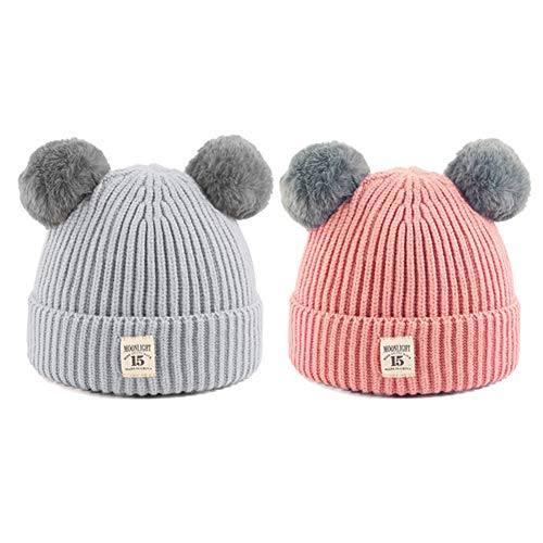 CMK TRENDY KIDS 2PCS Unisex Baby Winter Warm Knit Skull Cap with Fur Ball Crochet Pompom Beanie Hats for Toddler Infant Girls and Boys 6-36 Months