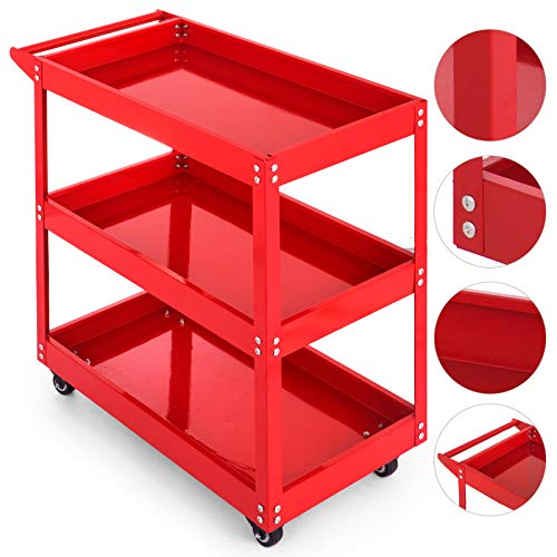 Popsport Utility Tub Cart Series 3-Tier Tool Cart Rolling Metal Tool Cart Heavy Duty Tool Cart with Handles and Rolling Caster Wheels for Transporting (103A Red) ()