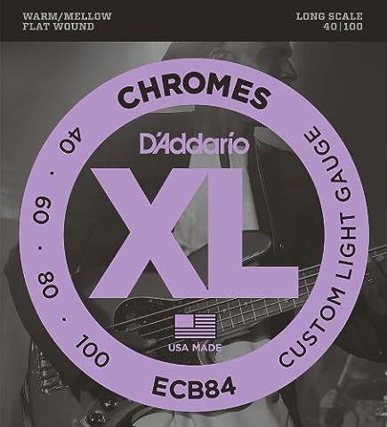 D'Addario ECB84 Chromes Bass Guitar Strings, Custom Light, 40-100, Long Scale (Flat Bass Guitar Strings)