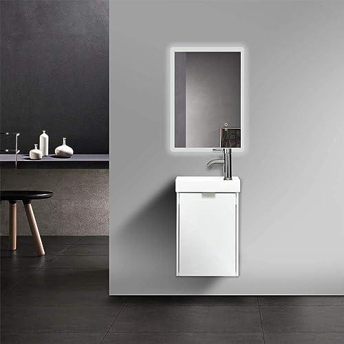 16 Inch Bathroom Vanity Wall Mounted PVC Vanity Sink Combo