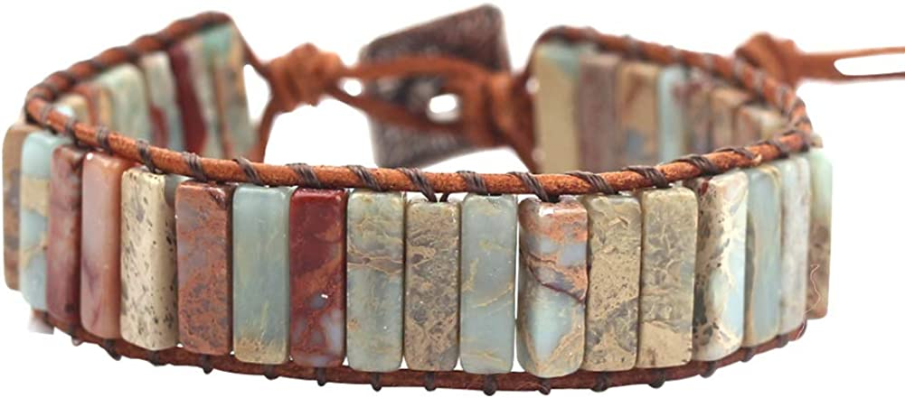 rongji jewelry Handmade Bohemian Natural Stones Bracelet - Leather Bracelet with Chakra and Beads Wrapped for Women and Girls 51Jb6a74L-L