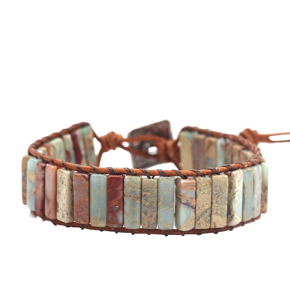 rongji jewelry Handmade Bohemian Natural Stones Bracelet - Leather Bracelet with Chakra and Beads Wrapped for Women and Girls (Gray-Jasper) by rongji jewelry