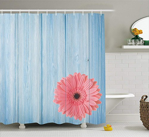 Nyngei Rustic Style Decor Shower Curtain Set Turquoise Vintage Barn Wood with Hot Pink Daisy Flower Retro Pop Artsy Design Bathroom Accessories Collection Polyester Fabric Pink and Blue