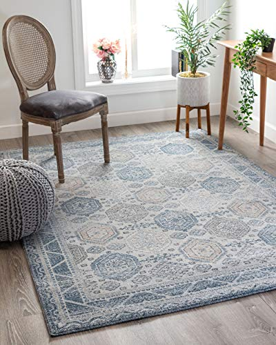 Well Woven Endelle Blue Vintage Panel Pattern Area Rug 5x7 (5