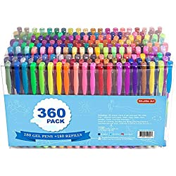 360 Pack Gel Pens Set, Shuttle Art 180 Colors Gel Pen Set Plus 180 Color Refills Perfect for Adult Coloring Books Doodling Drawing Art Markers