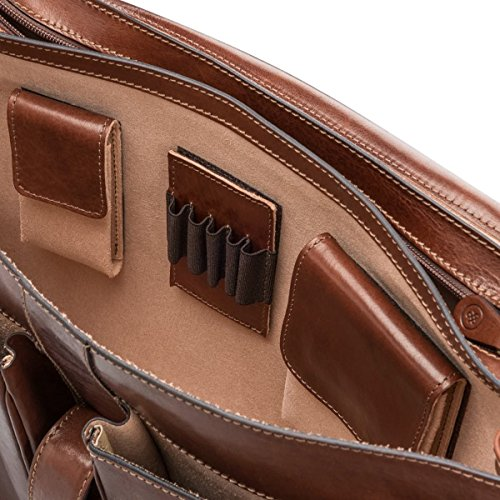 Maxwell Scott Personalized Luxury Tan Large Briefcase (The Tomacelli 3 section) by Maxwell Scott Bags (Image #4)