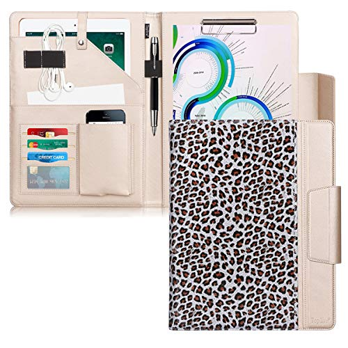Toplive Portfolio Case Padfolio, Executive Business Document Organizer with Letter Size Clipboard, Card Holder, Tablet Sleeve(10.5), Perfect for Business School Office Conference,Leopard Silver.