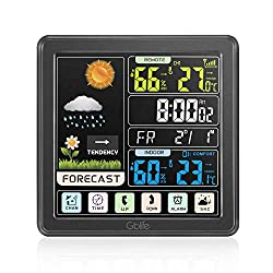 GBlife Weather Stations Wireless Indoor Outdoor, Digital Thermometer with Remote Sensor, Weather Forecast Station with Color LCD Display, Touch Screen Control, USB Port, Alarm Clock (Black)