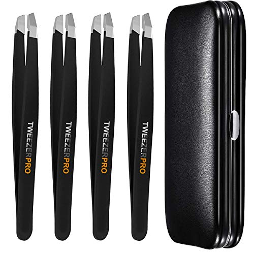 Cbiumpro Tweezers for Eyebrows, 4 Pack Professional Slant Tweezers Stainless Steel Precision Tweezers Set for Eyebrows, Facial Hair, Ingrown Hair, Eyelash Extension with Leather Carrying Case