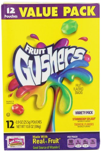 Betty Crocker Fruit Snacks, Gushers, Variety Snack Pack, 12 Pouches, 0.9 oz Each (Pack of 6)