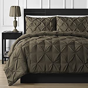 Double Needle Durable Stitching Comfy Bedding 3-piece Pinch Pleat Comforter Set All Season Pintuck Style (Full, Chocolate)