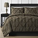 Extra Wide King Size Comforters Double Needle Durable Stitching Comfy Bedding 3-piece Pinch Pleat Comforter Set All Season Pintuck Style (King, Chocolate)