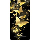 Casotec Golden Butterfly Pattern Design Hard Back Case Cover for Sony Xperia T2 Ultra