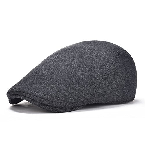 Flat Cap Ivy Hat - VOBOOM Men's Cotton Flat Ivy Gatsby Newsboy Driving Hat Cap (Style2-Dark Grey)