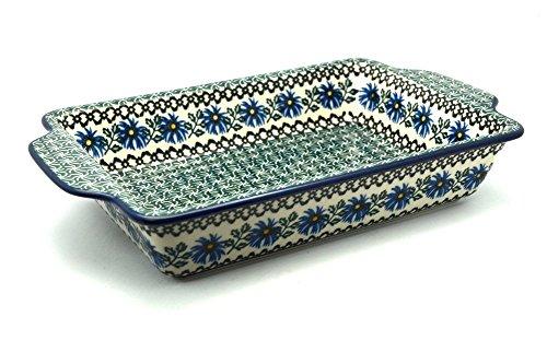 Polish Pottery Baker - Rectangular Brownie Pan - Blue Chicory ()