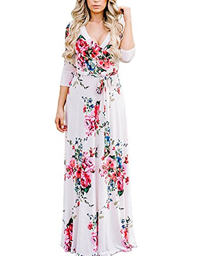 (Womens Casual Slimming Ladies Summer Bohemian Hawi V Neck Short Sleeve Wrap High Waist Floral Print Sun Flare Maxi Long Dress with Belts White)